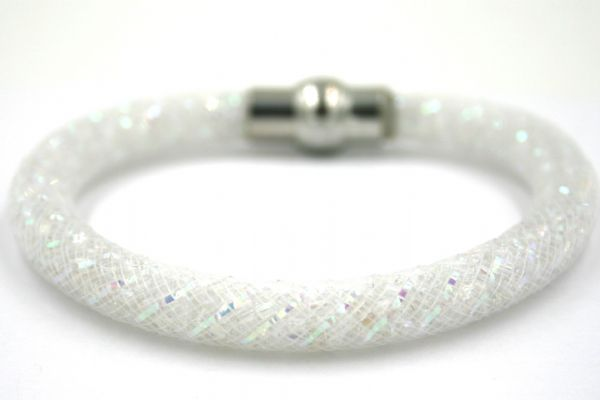 Starburst mesh bracelet kit - Silver foil AB 188 beads with white AB mesh - Makes 5 bracelets MK007